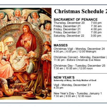 Christmas Schedule for Masses and Sacrament of Penance