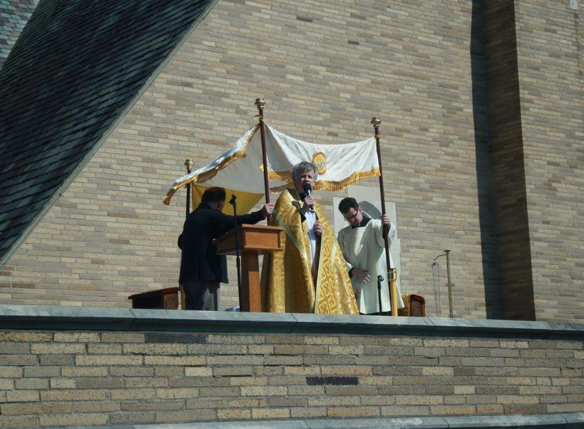 FATHER BRIAN GANNON AND FATHER FLAVIAN BEJAN ROOFTOP DIVINE MERCY SUNDAY ST. THERESA CHURCH TRUMBULL