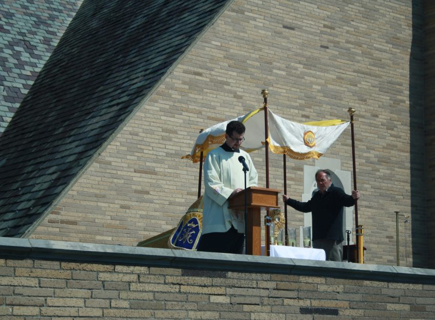 CHAPLET OF DIVINE MERCY FROM THE ROOF TOP AT ST. THERESA CHURCH TRUMBULL CT