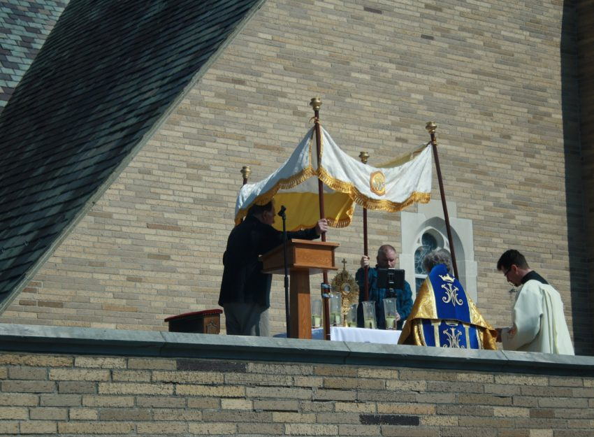 BENEDICTION FROM THE ROOF AT ST. THERESA CHURCH TRUMBULL CT