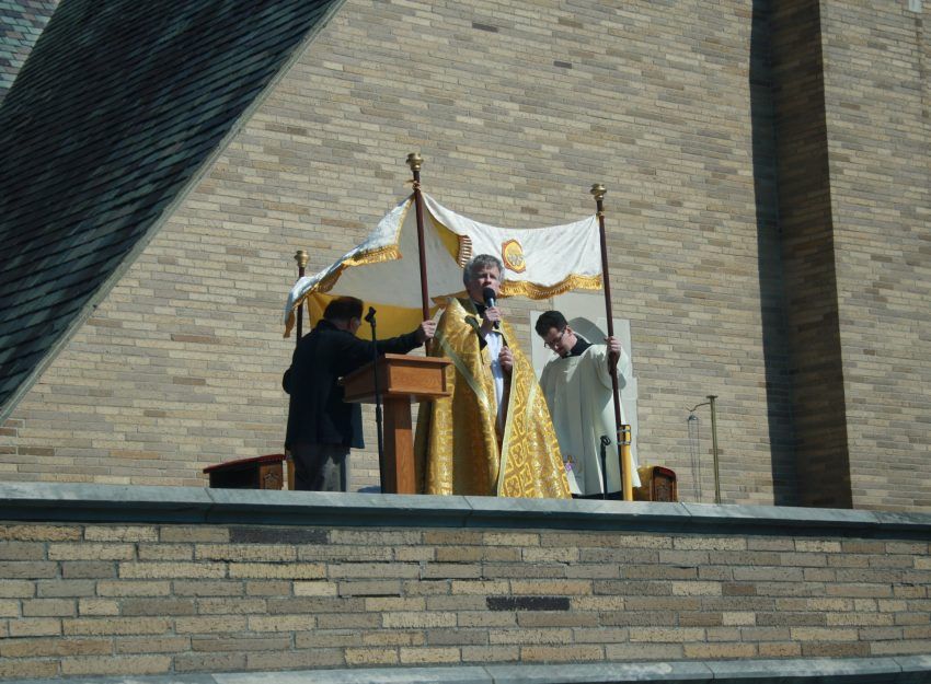 FATHER BRIAN GANNON AND FATHER FLAVIAN BEJAN DIVINE MERCY SUNDAY ST. THERESA CHURCH TRUMBULL CT