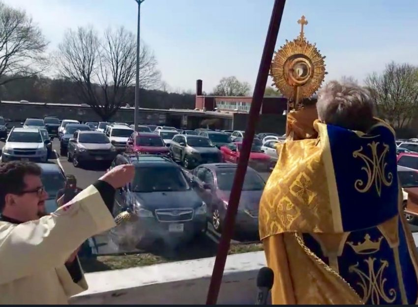 BENEDICTION FROM THE ROOFTOP OF SAINT THERESA CHURCH TRUMBULL CT
